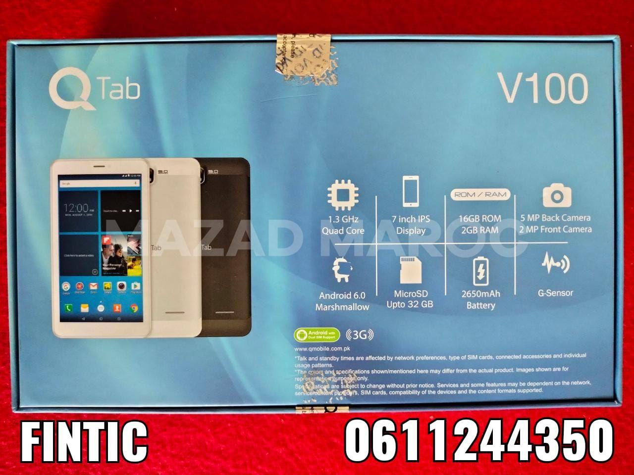 Tablette QTab V100 جديدة  QTab V100  ©️  Quad Core Processeur 1.30Ghz