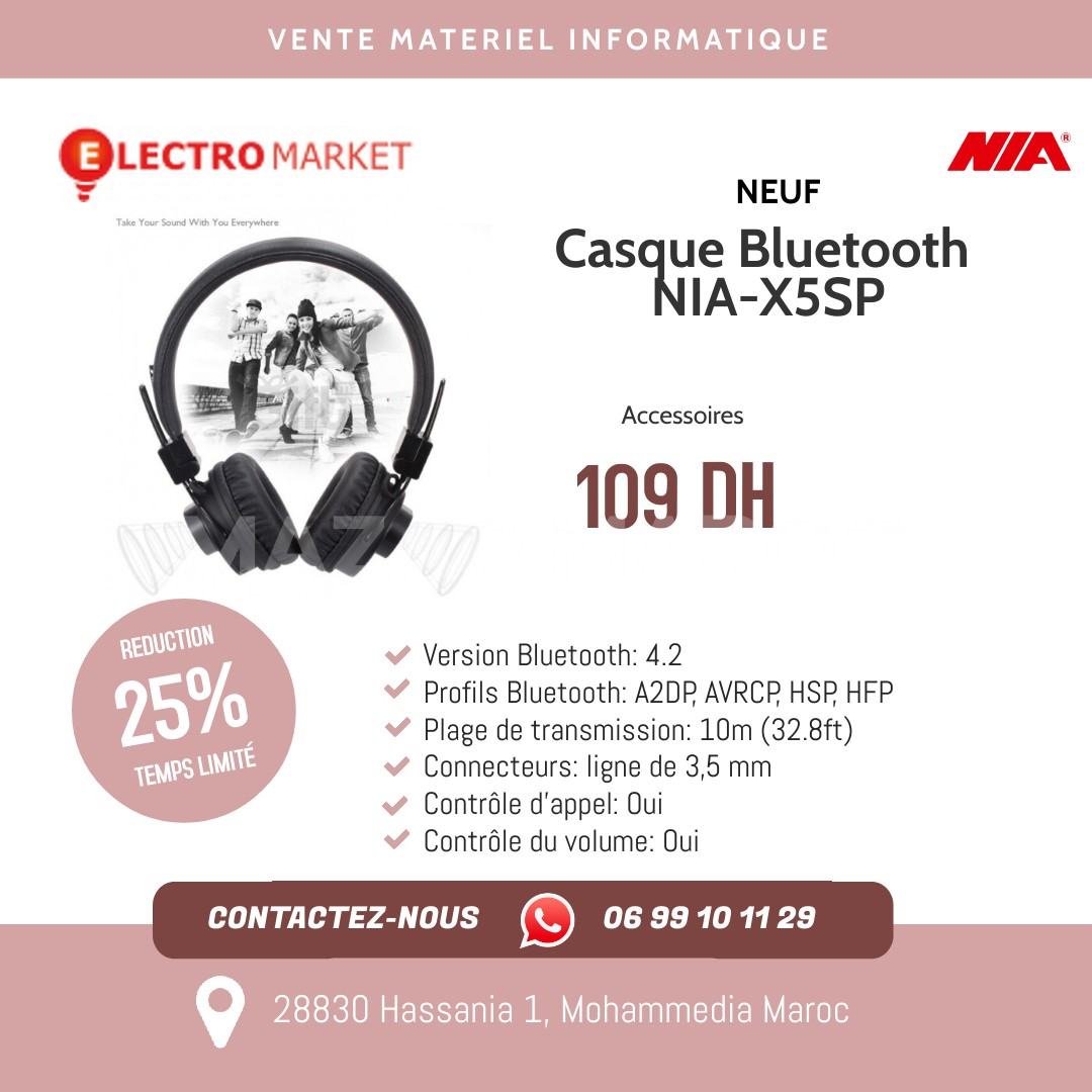 Casque Bluetooth NIA-X5SP