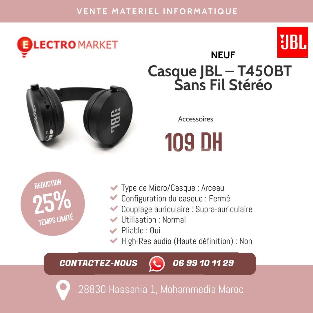 Casque JBL – T450BT – Sans Fil Stéréo