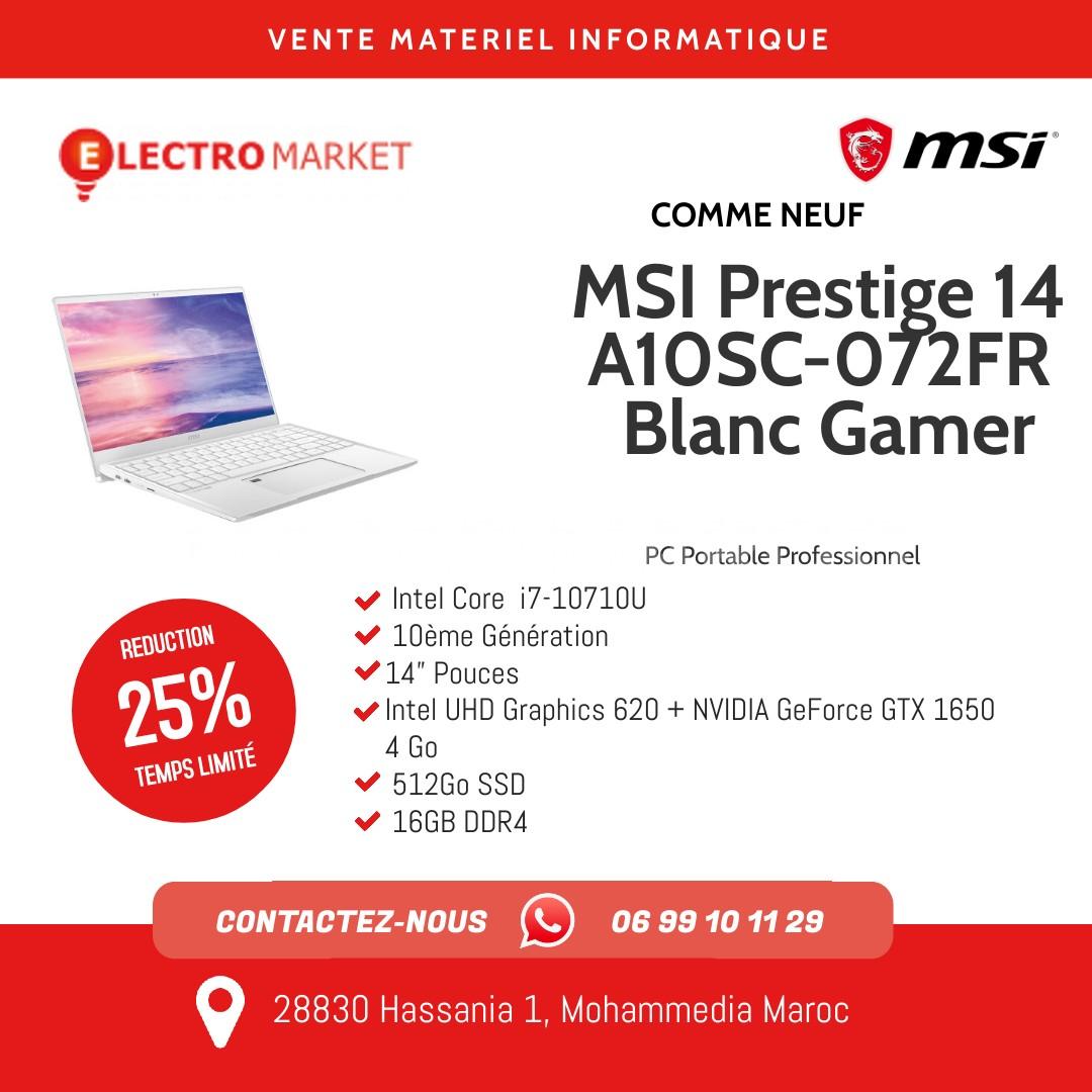MSI Prestige 14 A10SC-072FR Blanc Gamer