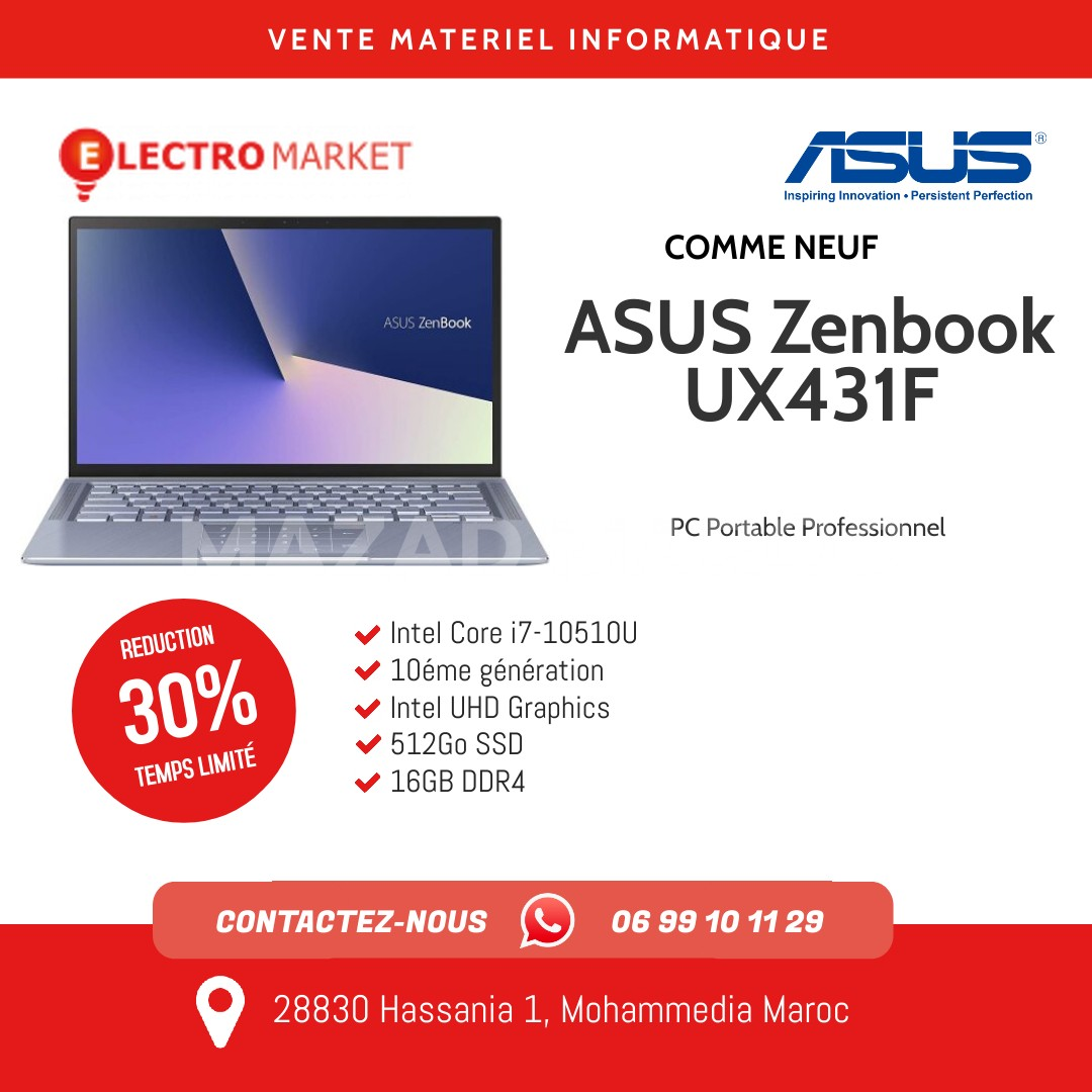 Vente ASUS Zenbook UX431F   i7-10510U 10éme Génération