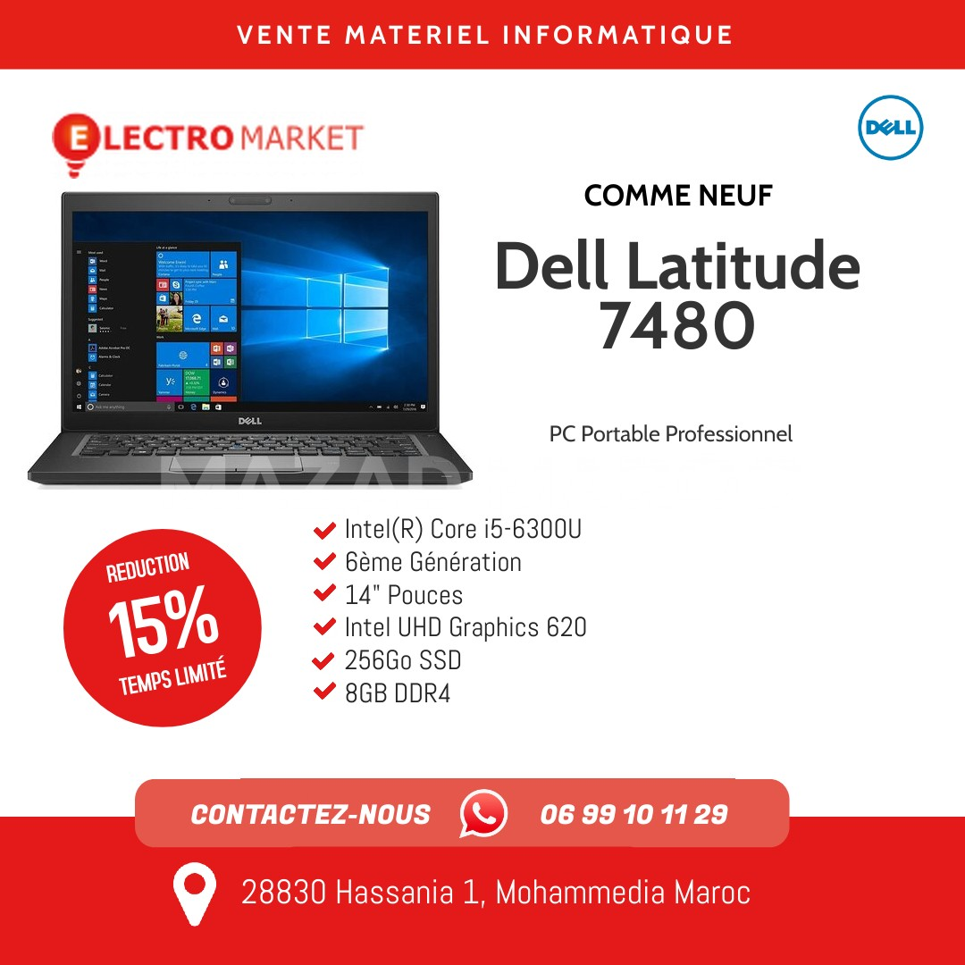 Dell Latitude 7480 Intel(R) Core i5-6300u 6ème Génération