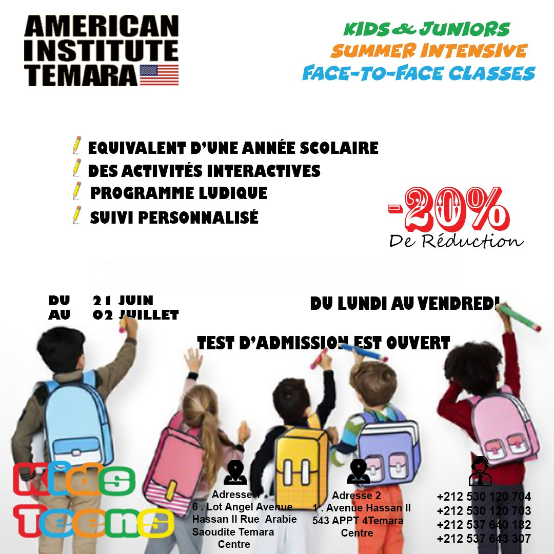 - Best Summer Courses in Intensive English 2021  I Institut Americain Temara